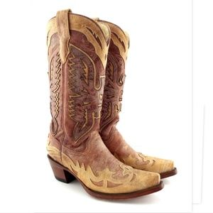 Corral Tan Leather Eagle Phoenix Western Boots 7.5